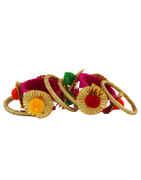 Pink Colour Pom Pom Bangles Jewellery Set