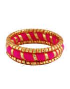 Pink Colour Navratri Thread Bangles Kada For Girls