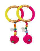 Pink-Yellow Combination Navratri Bangles Jewellery