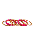 Pink Colour Thread Bangles Jewellery For Garba