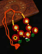 Red Colour Thread Necklace Jewellery For Girls