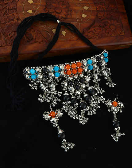 Orange-Blue Combination Chokar Navratri Necklace
