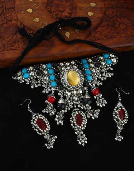 Multi Colour Oxidised Finish Dandiya Necklace Jewellery