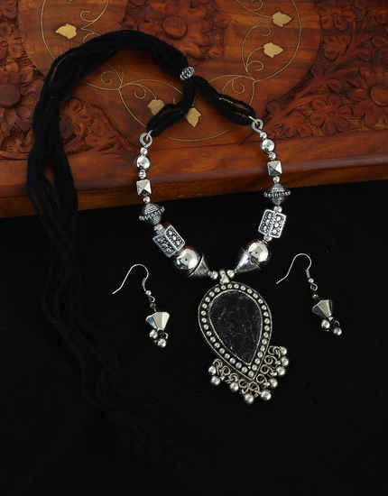 Fancy Silver Oxidised Finish Dori Dandiya Necklace