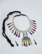 Multi Colour Oxidised Finish Navratri Necklace For Girls