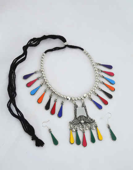 Multi Colour Oxidised Finish Navratri Necklace For Girls
