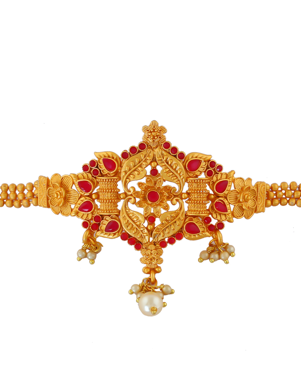 Red Colour Gold Finish Fancy Bajuband For Girls