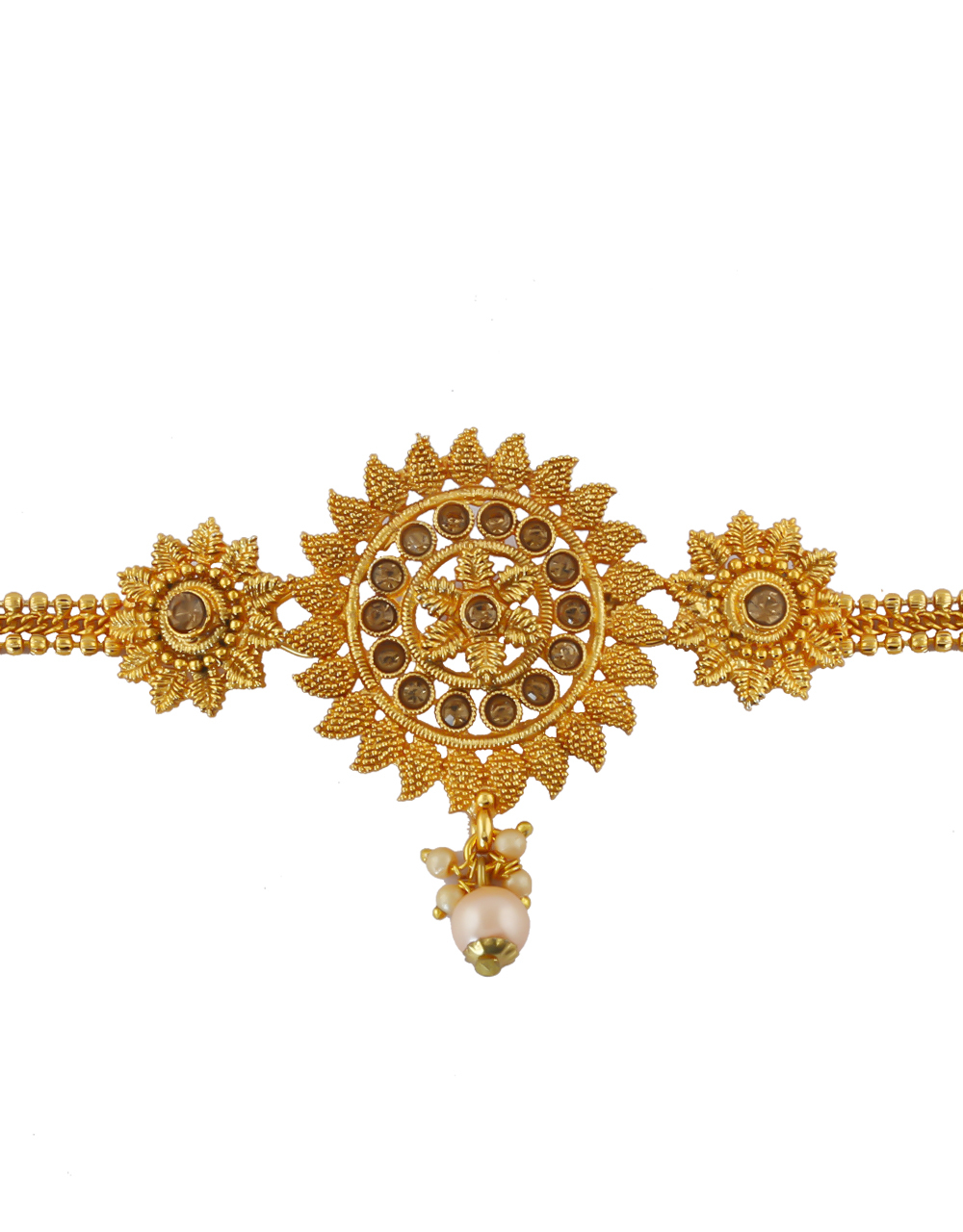 Gold Finish Floral Design Studded With Stones Bajuband