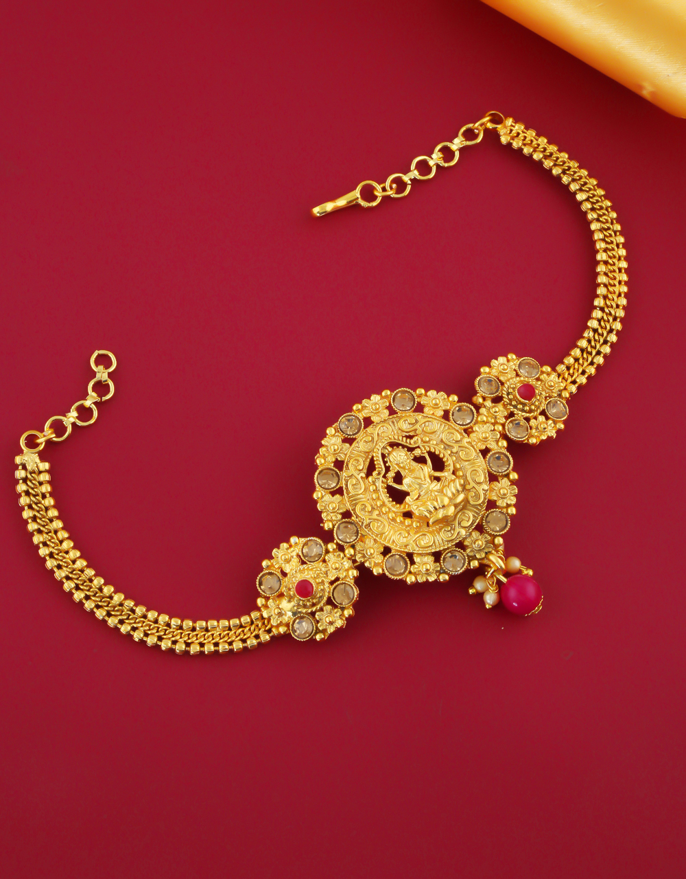 Gold Finish Temple Design Pink Colour Bajuband