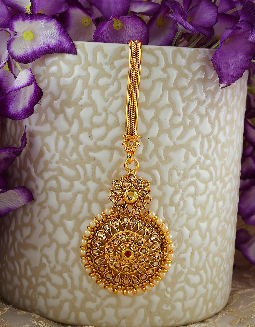 Designer Gold Finish Styled With Pearls Beads Fancy Challa