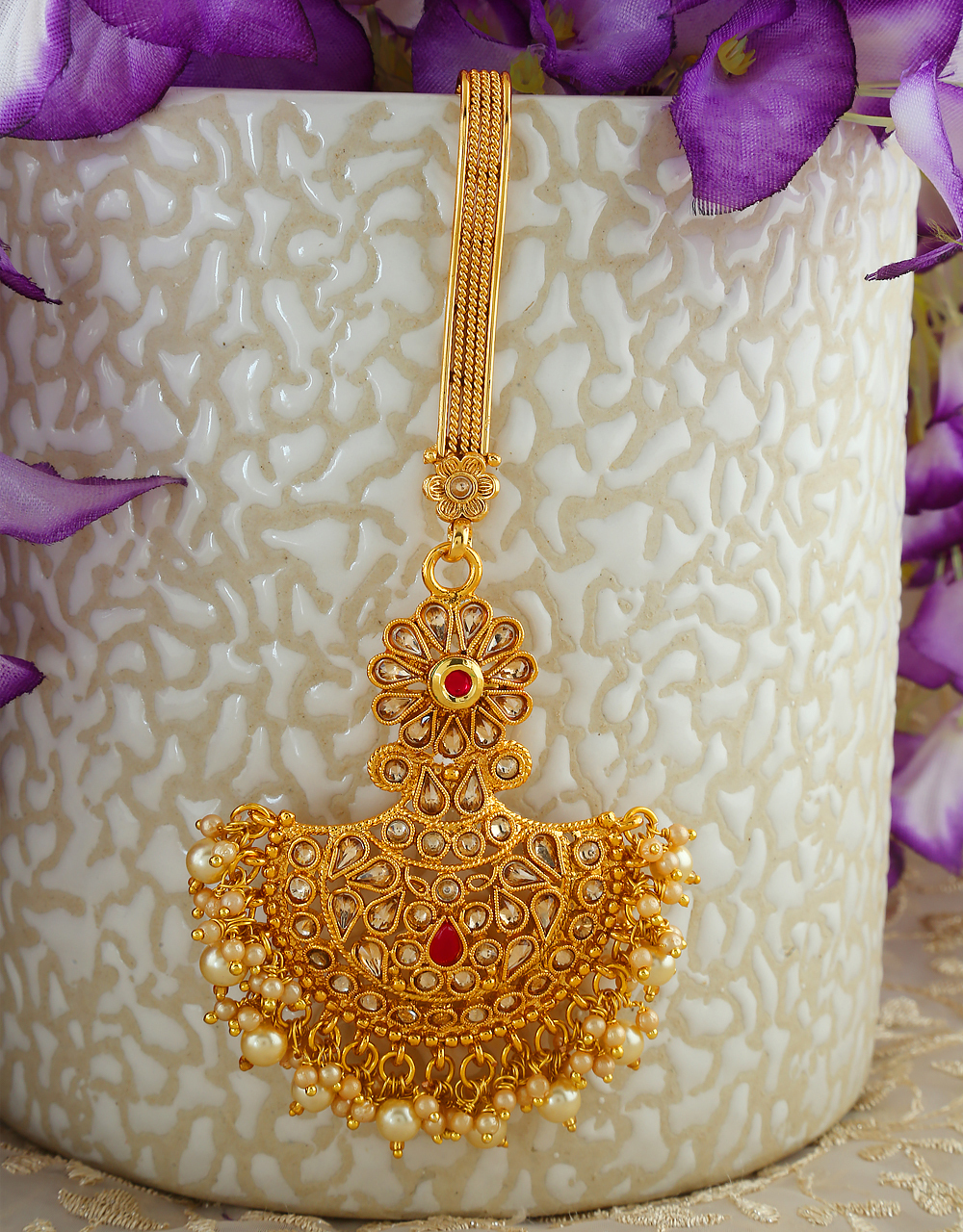 Floral Design Antique Gold Finish Pearls Styled Challa
