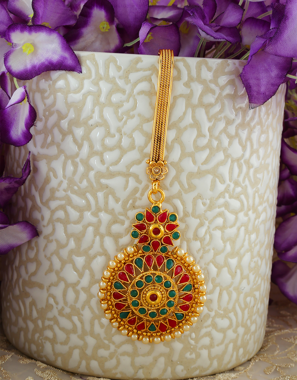 Simple Multi Colour Gold Finish Methala For Women