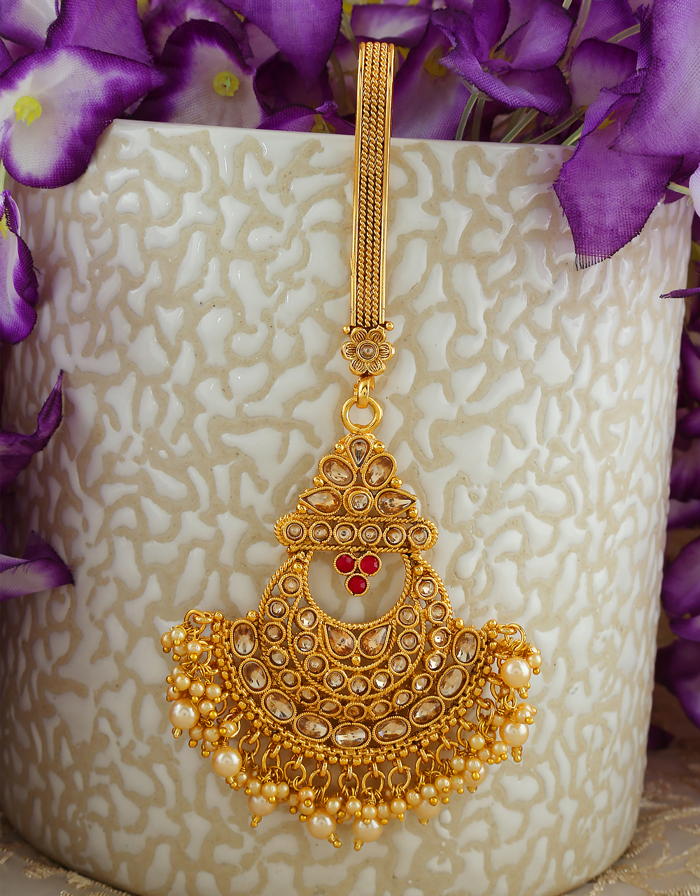 Red Colour Antique Gold Finish Stunning Moti Challa