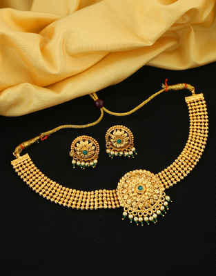 Green Colour Gold Finish Chokar Necklace Styled With Pearl Bead Fancy Necklace