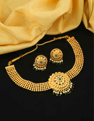 Designer Gold Finish Green Colour Wedding Necklace Jewellery