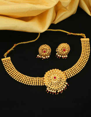 Pink Colour South Matte Finish Fancy Chokar Necklace
