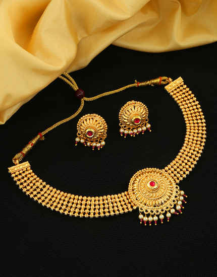 Traditional Pink Colour Gold Finish Maharashtrian Chokar Necklace