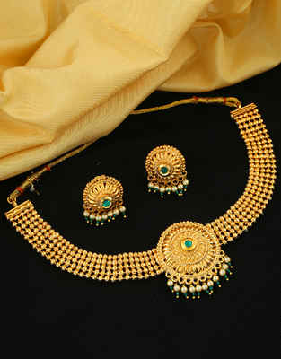 Designer Green Colour Gold Finish Chokar Necklace For Girls