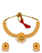 Fancy Pink Colour Gold Finish Moti Necklace For Traditional Wear