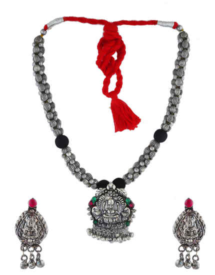 Oxidised Finish Multi Colour Necklace Jewellery For Girls