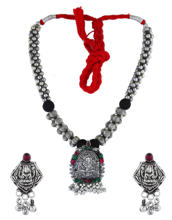 Multi Colour Oxidised Finish Short Necklace For Women