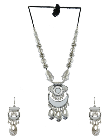 Designer Oxidised Silver Finish Studded With Glass Stone Fancy Necklace