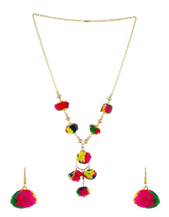 Gold Finish Multi Colour Pom Pom Necklace Jewellery