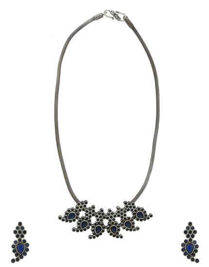 Blue Colour Oxidised Finish Western Wear Necklace