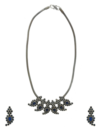 Blue Colour Oxidised Finish Western Wear Necklace