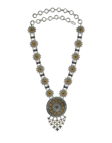 Silver-Gold Finish Fashionable Necklace For Girls