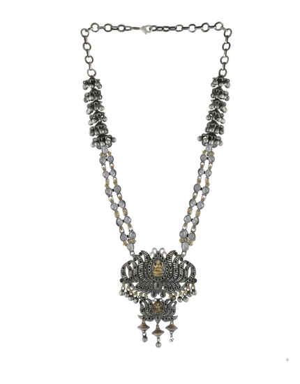 Black Oxidised Finish Temple Navaratri Necklace