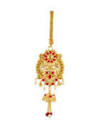Red Colour Gold Finish Pearls Styled Chabi Challa For Girls