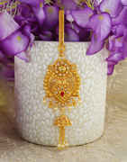 Adorable Gold Finish Red Colour Fancy Traditional Challa