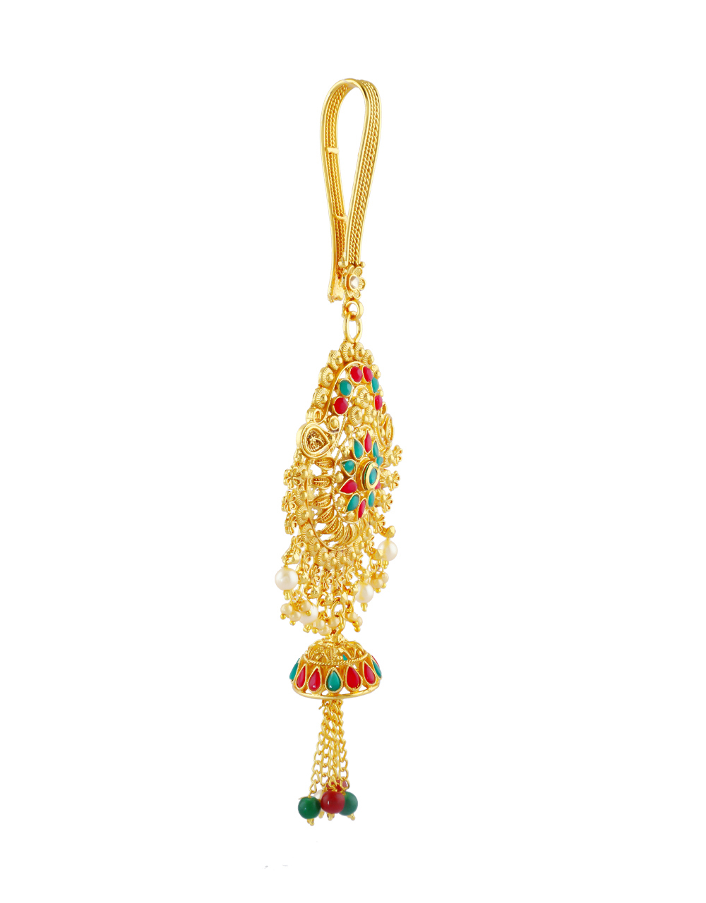 Multi Colour Gold Finish Styled With Jhumkaa Fancy Challa