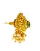 Green Colour Gold Finish Kundan Moti Tops For Women