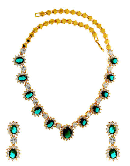 Gold Finish Green Colour American Diamond Fancy Necklace