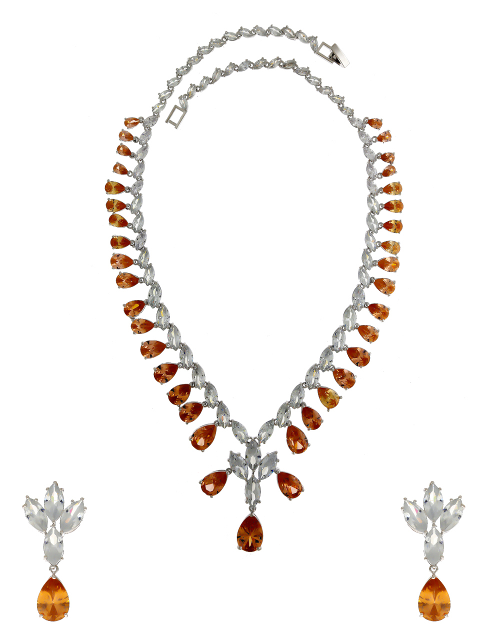 Peach Colour Silver Finish Party Wear Diamond Necklace