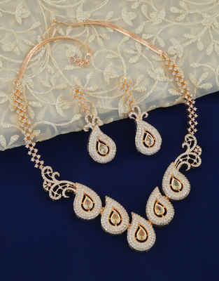 Rose Gold Finish Necklace Studded With American Diamond Necklace