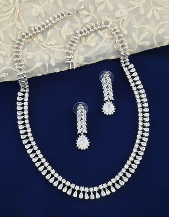 Silver Tone American Diamond Party Wear Necklace For Girls