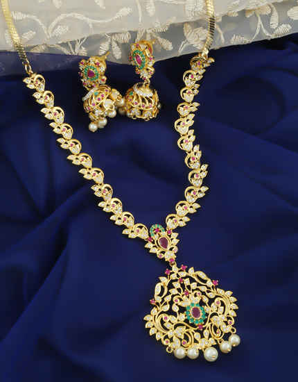 Multi Colour Gold Finish American Diamond Fancy Necklace