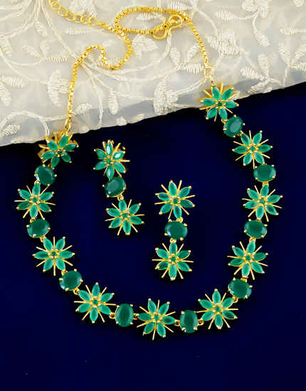 Green Colour Floral Design Ruby Stone Necklace