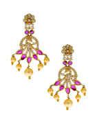 Pink Colour Peacock Design Diamond Fancy Necklace
