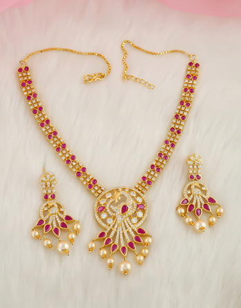 Pink Colour Peacock Design Diamond Fancy Necklace