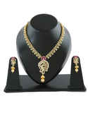 Peacock Design Pink Colour Gold Finish Diamond Necklace