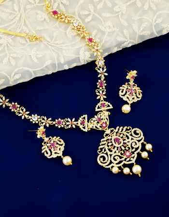 Pink Colour Adorable Diamond Necklace Fancy