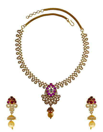 Very Classy Designer Pink Colour Diamond Necklace