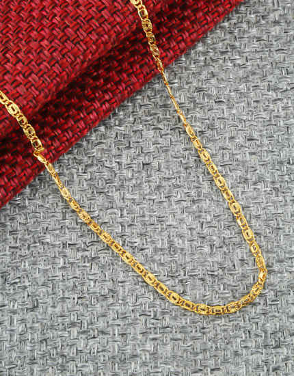 Delicate Gold Tone Mens Chain For Daily Wear