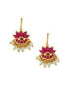 Pink Colour Gold Finish Floral Design Moti Bugadi For Women