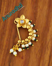 Green Colour Gold Finish Floral Nath For Women
