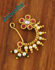 Red Colour Gold Finish Fancy Moti Nath